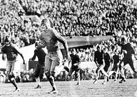 California center Roy Riegels returning a fumble 65 yards the wrong way against Georgia Tech in the 1929 Rose Bowl