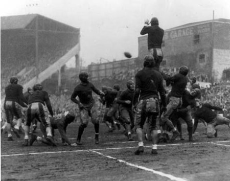 "Oregon State using the ""Pyramid Play"" to block an Oregon extra point in 1933"