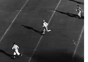 Alabama halfback Dixie Howell's 67 yard touchdown run against Stanford in the 1935 Rose Bowl