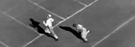 Alabama end Don Hutson scoring on a 54 yard catch against Stanford in the 1935 Rose Bowl