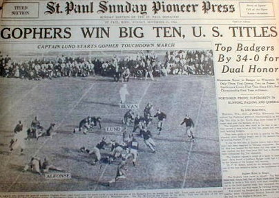 St. Paul newspaper on Minnesota's football win over Wisconsin to end the 1934 season