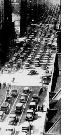 Traffic on the Boulevard of Allies in Pittsburgh before the 1934 Pitt-Minnesota football game