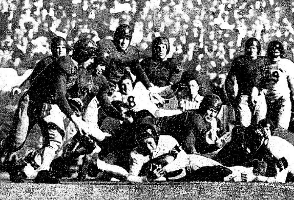 Stanford quarterback Bill Paulman scoring the touchdown to beat Southern Methodist 7-0 in the 1936 Rose Bowl