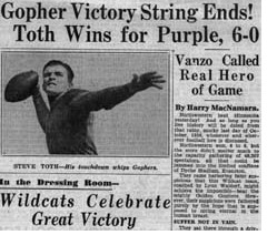 Article about 1936 Minnesota-Northwestern football game in the Chicago World & Examiner