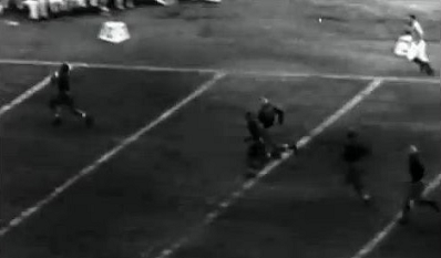 Pittsburgh end Bill Daddio's 71 yard interception return touchdown against Washington in the 1937 Rose Bowl