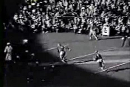 Pittsburgh halfback Marshall Goldberg's touchdown that was negated by a penalty in the 1937 Fordham game