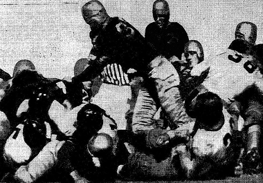 Texas Christian scoring the opening touchdown in the 1939 Sugar Bowl