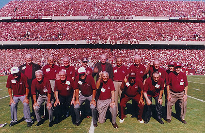 Texas A&M's 1939 national championship team at an Aggie game in 1999