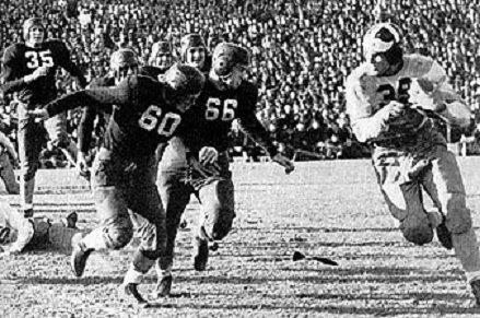 Texas A&M fullback John Kimbrough scoring the winning touchdown in a 14-13 victory over Tulane in the 1940 Sugar Bowl