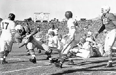 Nebraska's first touchdown against Stanford in the 1941 Rose Bowl