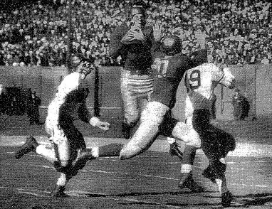 1943 Notre Dame - Navy football game, Creighton Miller intercepting for Notre Dame