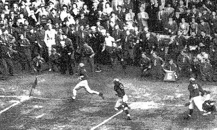 Notre Dame halfback Creighton Miller scoring a 65 yard touchdown against Michigan in 1943