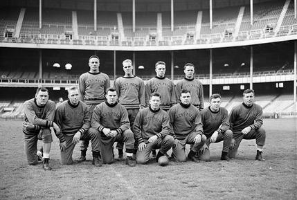 "Army football starters at Yankee Stadium the day before their 1946 ""Game of the Century"" against Notre Dame"
