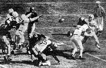Oklahoma blocks an Army punt for a touchdown in 1946