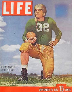Notre Dame quarterback John Lujack on the cover of Life magazine