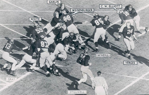 Michigan fullback Jack Weisenburger scores the opening touchdown in a 49-0 rout of Southern Cal in the 1948 Rose Bowl