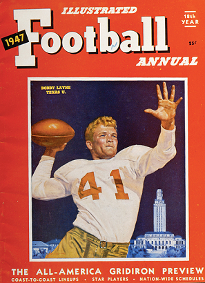 Texas quarterback Bobby Layne on the cover of the 1947 Illustrated Football Annual