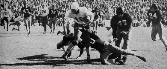 Texas halfback Jim Canady carrying the ball against Alabama in the 1948 Sugar Bowl