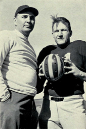 Michigan football coach Bennie Oosterbaan and tackle Alvin Wistert
