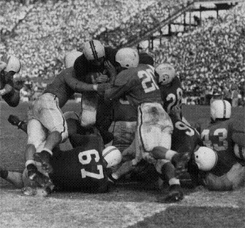 Maryland quarterback Jack Scarbath scoring a touchdown in #3 Maryland's 28-13 win over #1 Tennessee in the 1952 Sugar Bowl