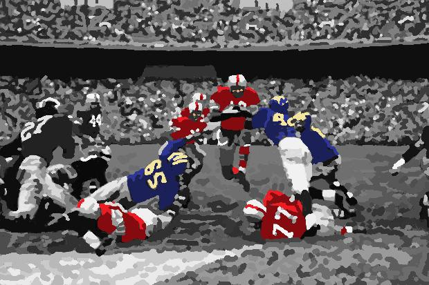 Ohio State halfback Hopalong Cassady scoring a touchdown against Michigan in 1954