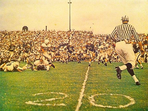 Auburn advancing the ball in a 1957 football game