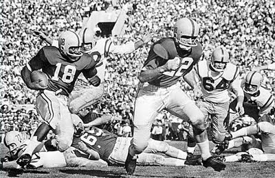 Ohio State advancing the football in the 1958 Rose Bowl