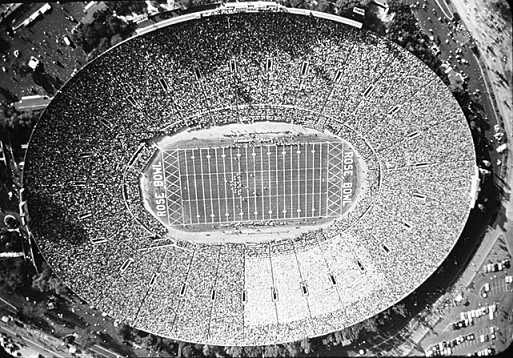 Aerial view of 1959 Rose Bowl