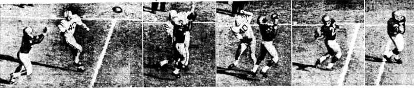 Washington halfback George Fleming intercepting a pass in the 1961 Rose Bowl