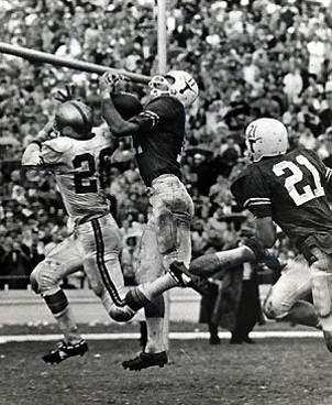 Game-saving interception for Texas at end of 1963 game vs. Baylor