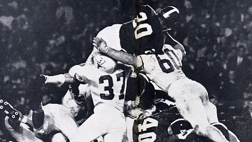 Texas stopping Alabama at the goal line in the 1965 Orange Bowl