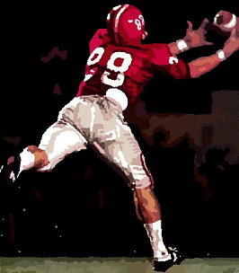 ms paint of Ray Perkins catching a pass in 1966 Orange Bowl