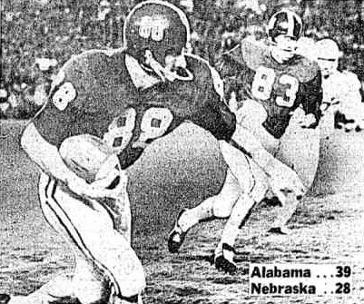 Ray Perkins touchdown for Alabama in first quarter of 1966 Orange Bowl