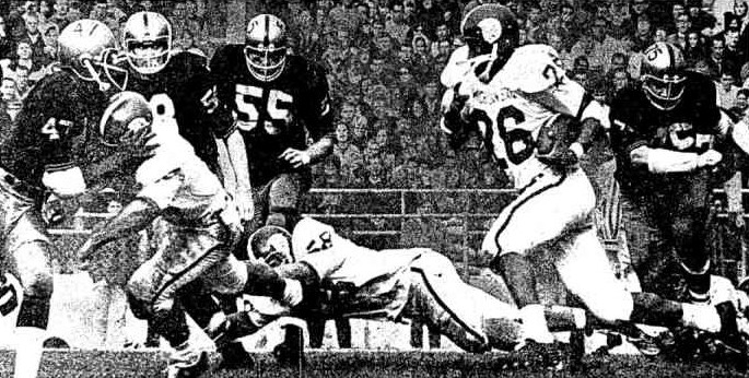 Michigan State running back Clint Jones scores the winning touchdown against Purdue in 1965