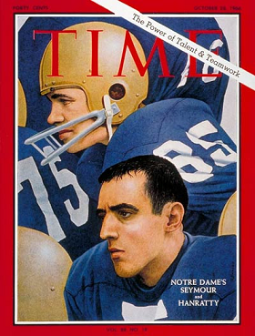 Notre Dame's Terry Hanratty and Jim Seymour on the cover of Time magazine in October 1966