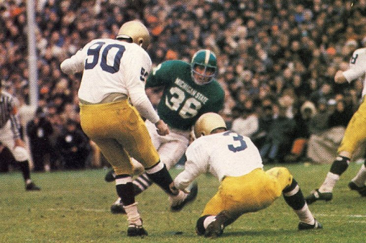 Notre Dame kicks the field goal that ties Michigan State 10-10 in 1966