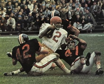 Southern Cal running back O. J. Simpson being gang-tackled by Oregon State in a 3-0 upset loss in 1967