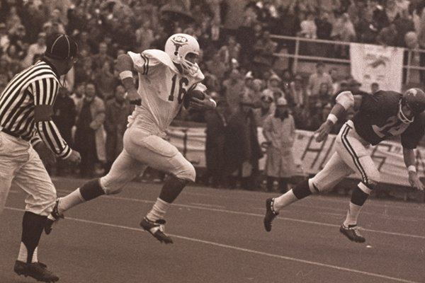 James Street's 42 yard touchdown for Texas in a 15-14 win over Arkansas in 1969