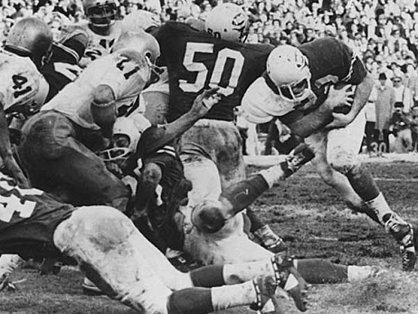 Texas carrying against Notre Dame in the 1970 Cotton Bowl