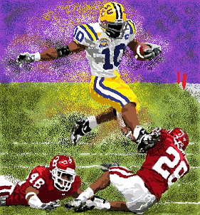 LSU running over Oklahoma for the 2003 BCS national championship
