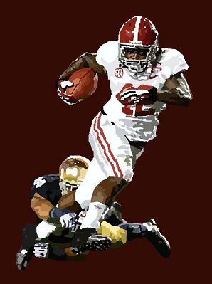 Alabama running back Eddie Lacy scoring the opening touchdown from 20 yards out in Alabama's 42-14 win over Notre Dame in the BCS National Championship Game for the 2012 season