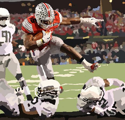 Ohio State running back Ezekiel Elliott scoring a touchdown against Oregon in the national championship game for the 2014 season