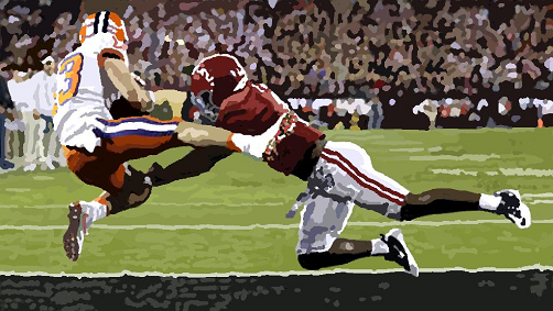Clemson receiver Hunter Renfro catching the winning touchdown pass against Alabama in the national championship game