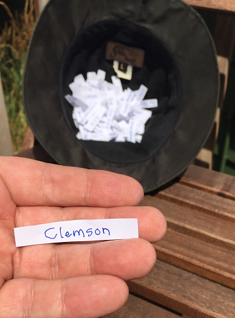 Clemson is the first school picked at random from my hat