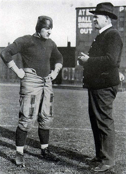 Pittsburgh center Bob Peck and head coach Pop Warner